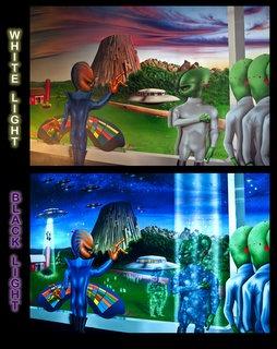 black light art mural backdrop