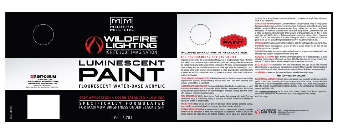 Visible Luminescent Paints Label - Gallon