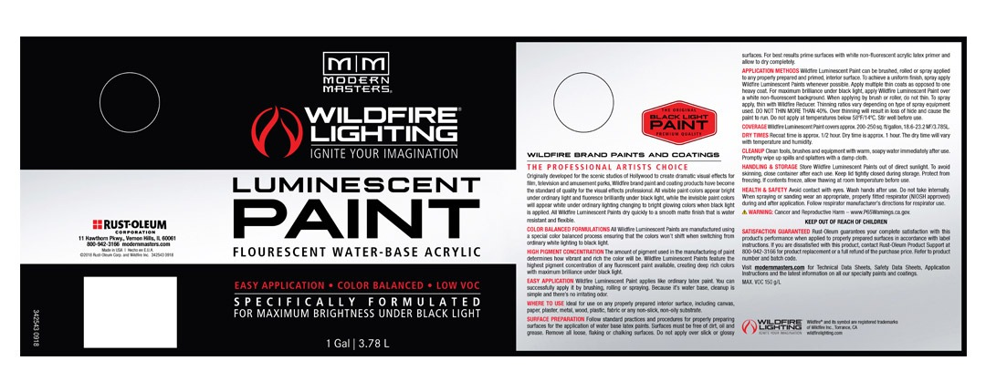 Invisible Luminescent Paints Label - Gallon